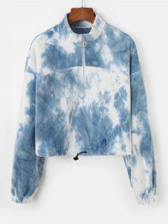 ZAFUL Tie Dye Drawstring Hem Cropped Fleece Sweatshirt - Light Sky Blue S