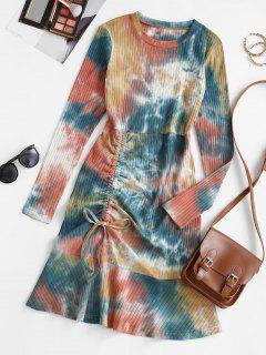 Tie Dye Cinched Flounce Ribbed Tee Dress - Multi L
