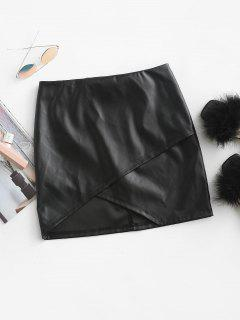 ZAFUL Faux Leather Asymmetric Tulip Mini Skirt - Black M