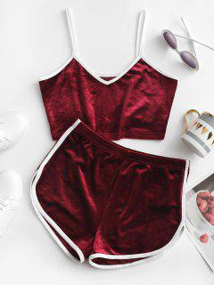 ZAFUL Contrast Trim Velvet Two Piece Shorts Set - Red Wine S