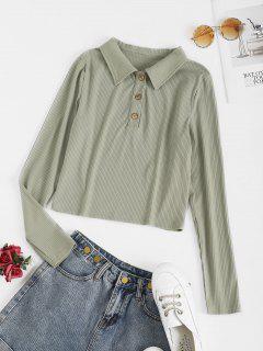 ZAFUL Ribbed Button Placket Crop Knitwear - Cyan Opaque M
