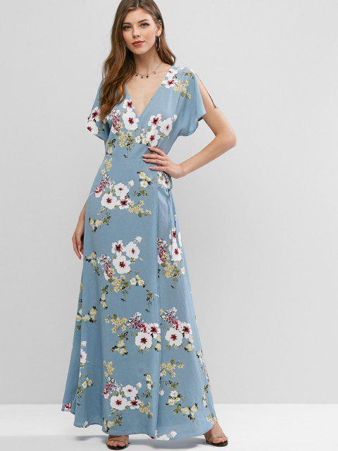 womens ZAFUL Floral Slit Sleeves Maxi Wrap Dress - LIGHT BLUE S Mobile