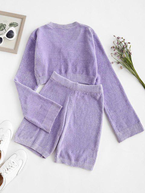 fashion Chenille Crop Sweater and Biker Shorts Set - LIGHT PURPLE ONE SIZE Mobile