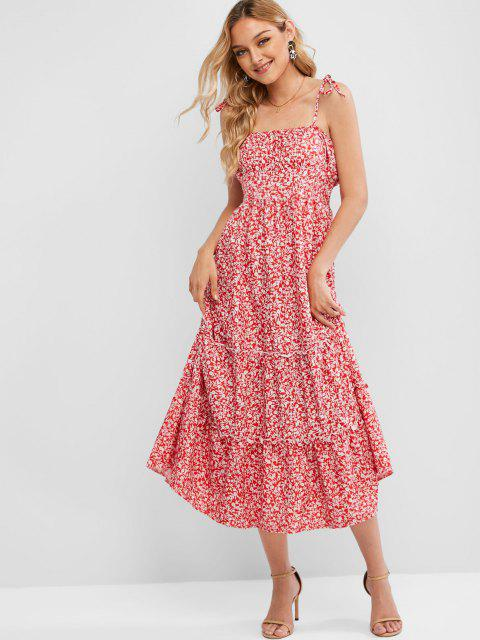 chic Tiny Floral Smocked Back Cami Dress - RED XL Mobile