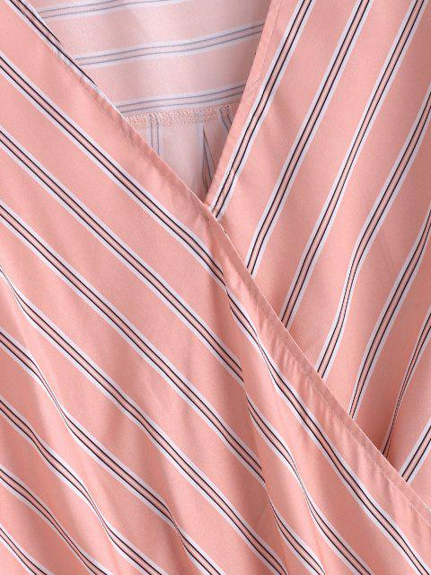 unique Striped Tied Cuff Curved Hem Blouse - LIGHT PINK M Mobile