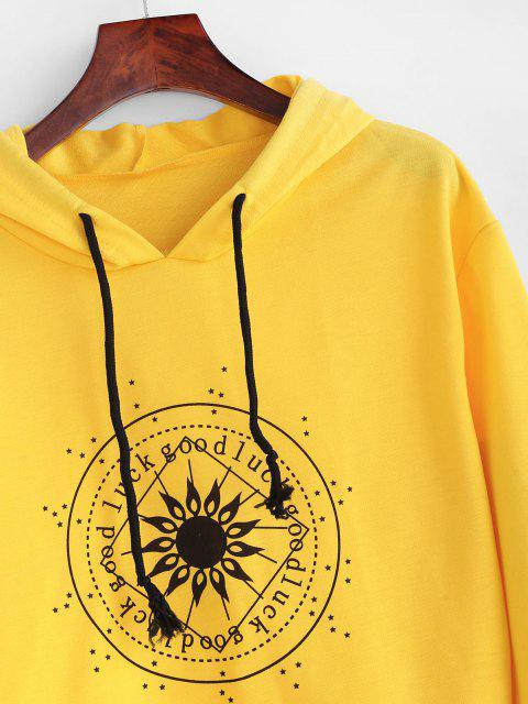 chic Drawstring Good Luck Chart Graphic Hoodie - YELLOW XL Mobile