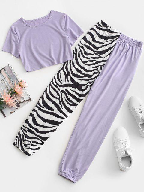 shops Zebra Striped Beam Feet Two Piece Pants Set - LIGHT PURPLE S Mobile