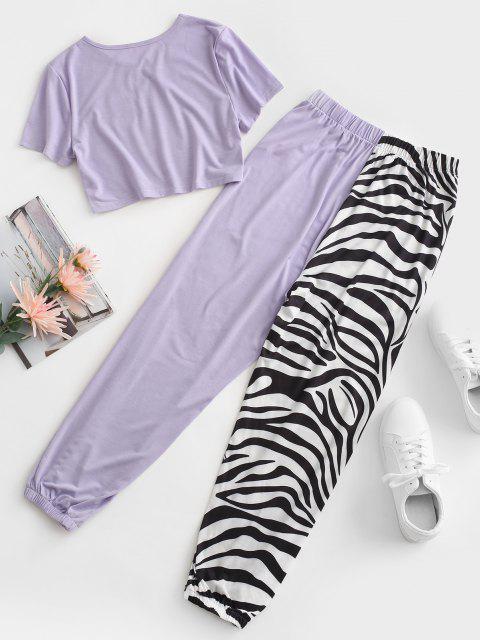 fancy Zebra Striped Beam Feet Two Piece Pants Set - LIGHT PURPLE M Mobile