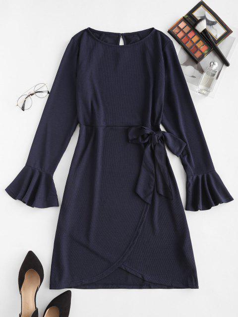 women's Tie Waist Flare Sleeve Ribbed Ruffles Dress - DEEP BLUE XL Mobile
