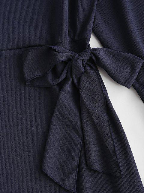 Robe Côtelée Taille Nouée à Manches Evasées à Volants - Bleu profond S Mobile
