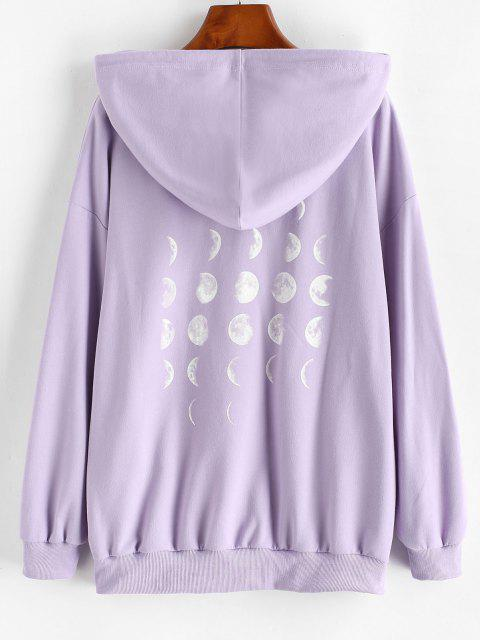best Drop Shoulder Moon Eclipse Kangaroo Pocket Hoodie - LIGHT PURPLE S Mobile