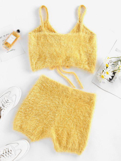 outfits ZAFUL Fuzzy Knitted Cinched Skinny Shorts Set - YELLOW XL Mobile