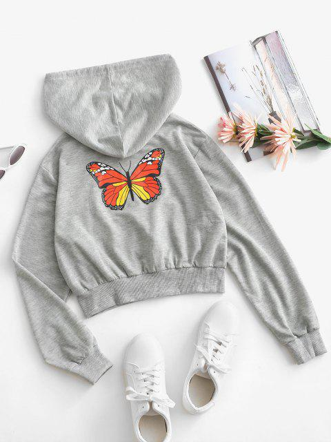 trendy Zip Up Drawstring Butterfly Back Hoodie - LIGHT GRAY S Mobile