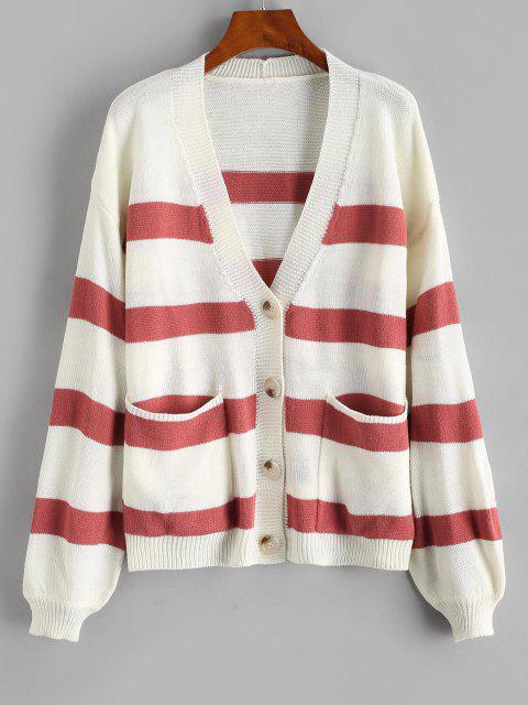 ladies Striped Drop Shoulder Pocket Plunging Cardigan - LIGHT PINK ONE SIZE Mobile