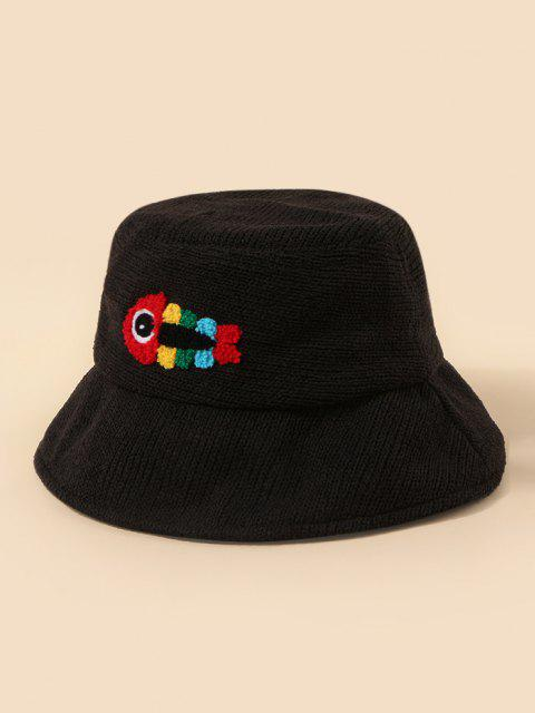 sale Plush Fish Graphic Knitted Bucket Hat - BLACK  Mobile