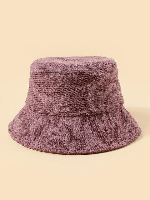 buy Plush Fish Graphic Knitted Bucket Hat - PURPLE  Mobile