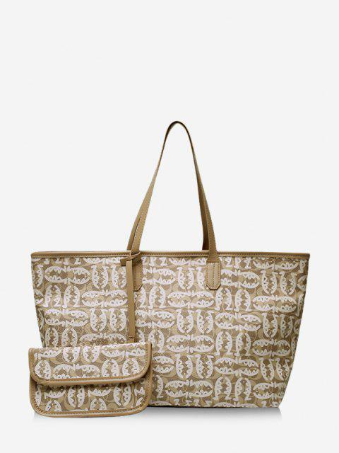 shop 2 Piece Cartoon Fish Print Large Capacity Tote Bag Sets - LIGHT KHAKI  Mobile