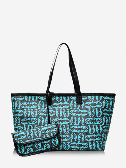 shops 2 Piece Cartoon Fish Print Large Capacity Tote Bag Sets - BLUE  Mobile
