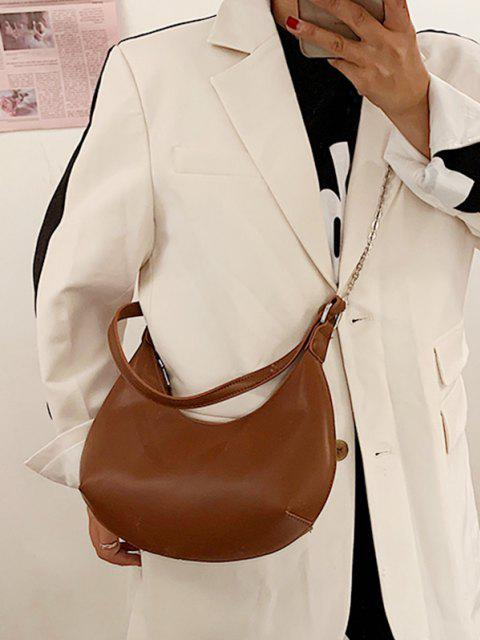 fashion Half-moon Layered Chain Underarm Shoulder Bag - BROWN  Mobile