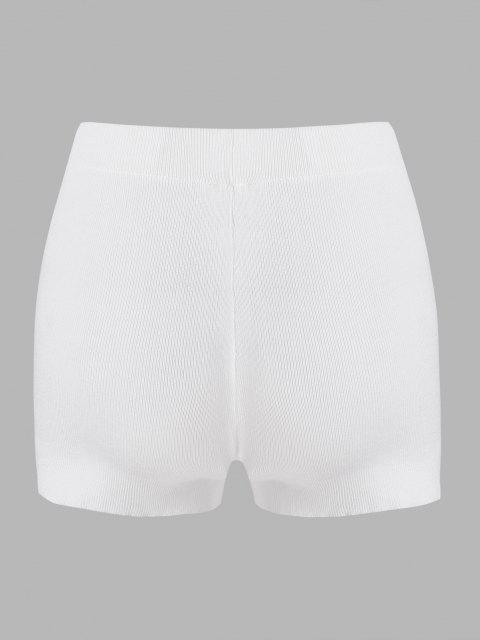 unique Plain High Waisted Knitted Shorts - WHITE ONE SIZE Mobile