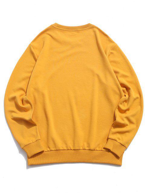 best ZAFUL Fire Flame Smoking ET Letter Graphic Sweatshirt - DEEP YELLOW XL Mobile