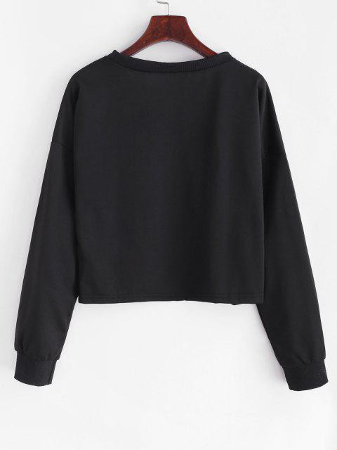 outfits Drop Shoulder Fruit Peachy Graphic Sweatshirt - BLACK S Mobile