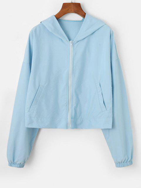 womens Hooded Drop Shoulder Zip Pocket Jacket - LIGHT BLUE S Mobile