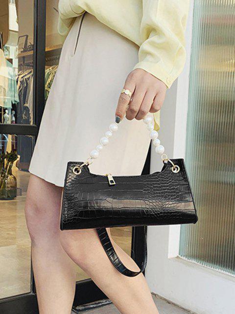 outfit Faux Pearl Animal Embossed Underarm Shoulder Bag - BLACK  Mobile