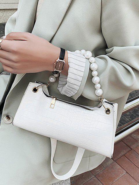 Künstliche-Perlen Tier Geprägte Achsel Umhängetasche - Weiß  Mobile