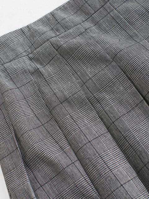 best ZAFUL Glen Check Mini Pleated Skirt - GRAY XL Mobile