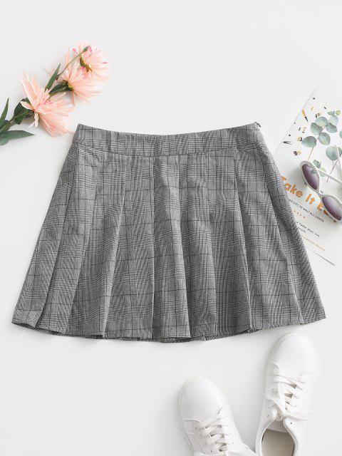 unique ZAFUL Glen Check Mini Pleated Skirt - GRAY L Mobile