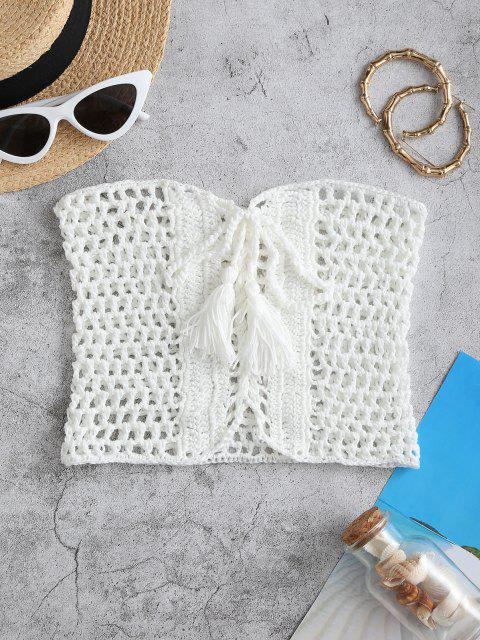 shop Lace-up Tassel Crochet Bandeau Beach Top - WHITE L Mobile