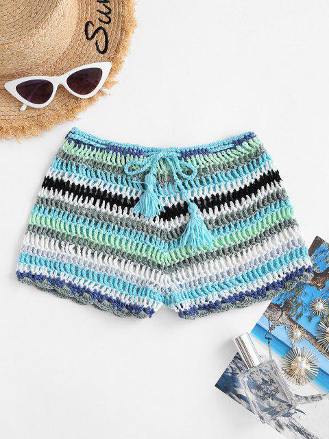 women Striped Tassel Drawstring Crochet Beach Shorts - BLUE M Mobile
