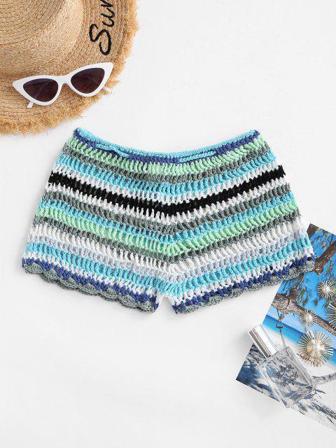 women's Striped Tassel Drawstring Crochet Beach Shorts - BLUE L Mobile