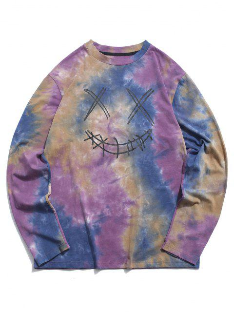 trendy ZAFUL Face Figure Print Tie Dye T Shirt - CONCORD M Mobile