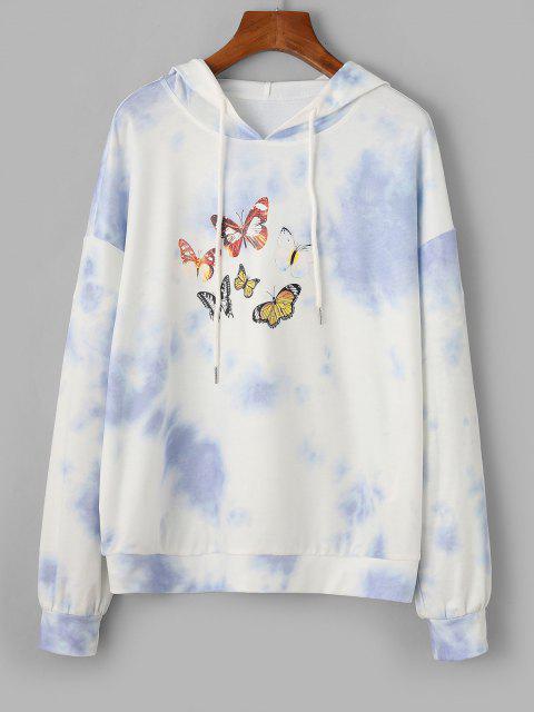 ZAFUL Tie Dye Butterfly Pattern Drop Shoulder Hoodie - متعددة-A S Mobile