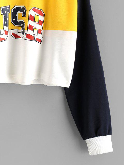 trendy Colorblock USA American Flag Crop Sweatshirt - YELLOW S Mobile