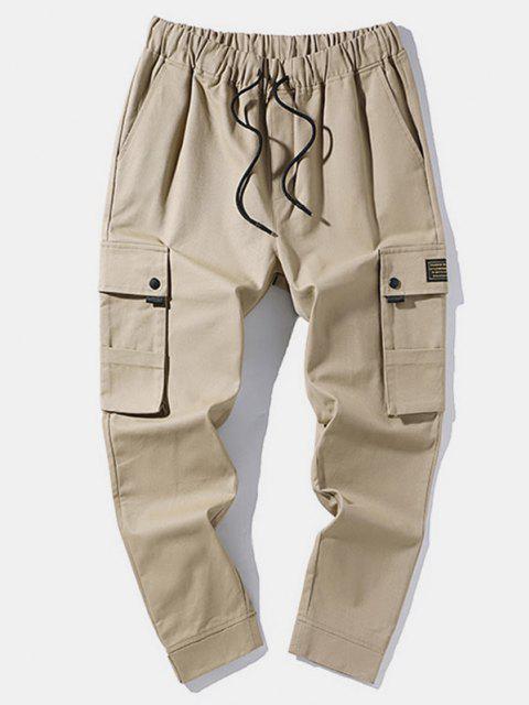 Pantalones de Carga con Dobladillo de Aplique de Gancho - Caqui L Mobile