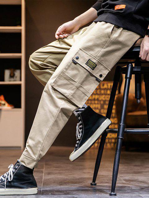 sale Letter Applique Hook Loop Hem Pencil Cargo Pants - KHAKI 3XL Mobile