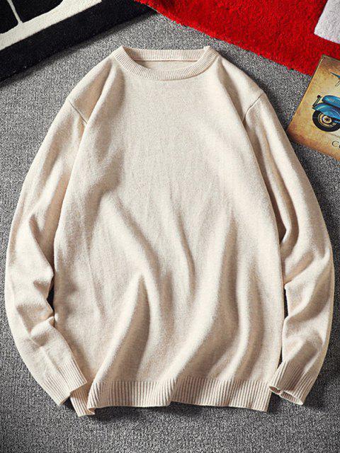 best Crew Neck Plain Pullover Sweater - WHITE XS Mobile