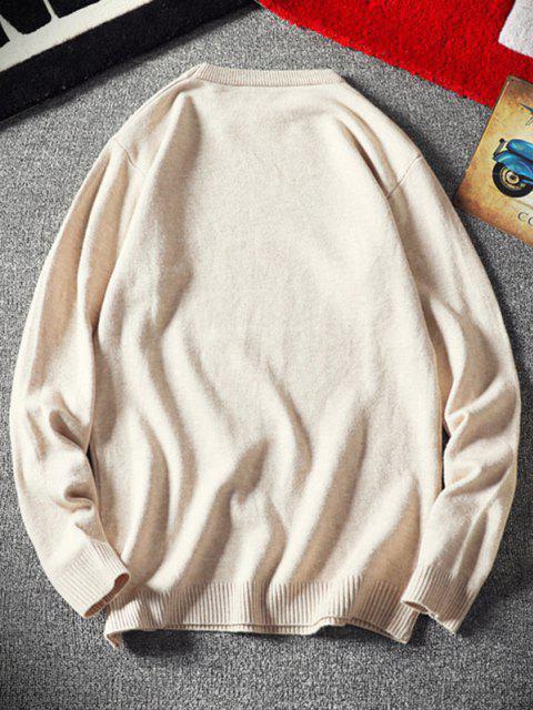 Crew Neck Plain Pullover Sweater - أبيض XS Mobile
