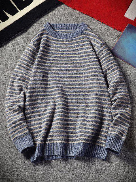 Crew Neck Striped Pattern Sweater - أزرق XS Mobile