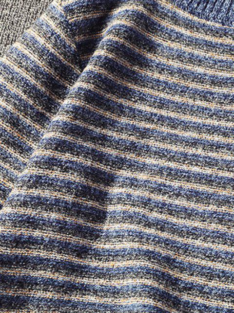 ladies Crew Neck Striped Pattern Sweater - BLUE M Mobile