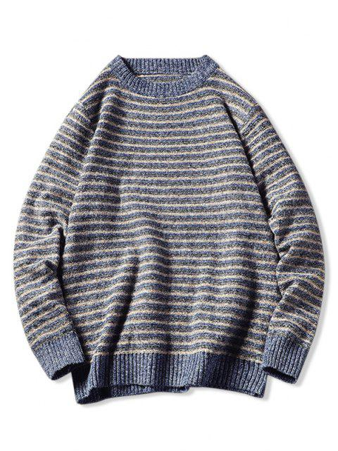 new Crew Neck Striped Pattern Sweater - BLUE S Mobile