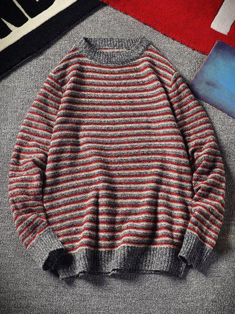 trendy Crew Neck Striped Pattern Sweater - RED XS Mobile