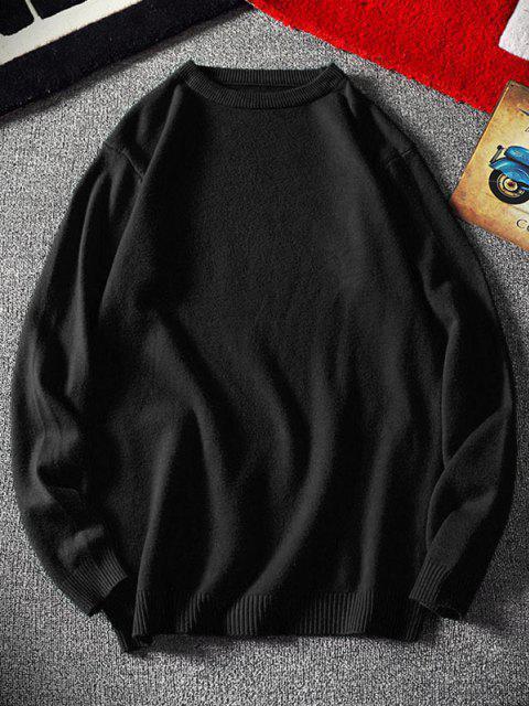 buy Crew Neck Plain Pullover Sweater - BLACK XS Mobile