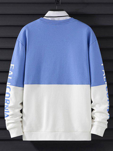 shop Contrast Color Letter Embroidery Drop Shoulder Sweatshirt - BLUEBERRY BLUE M Mobile