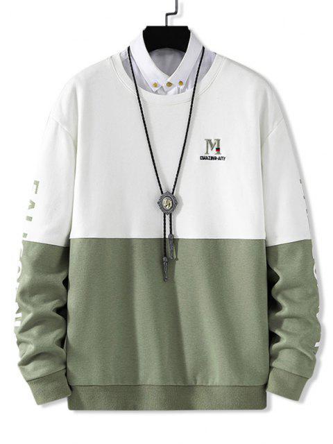 Sweat-shirt Lettre Brodée en Couleur Contrastée à Goutte Epaule - Blanc XS Mobile