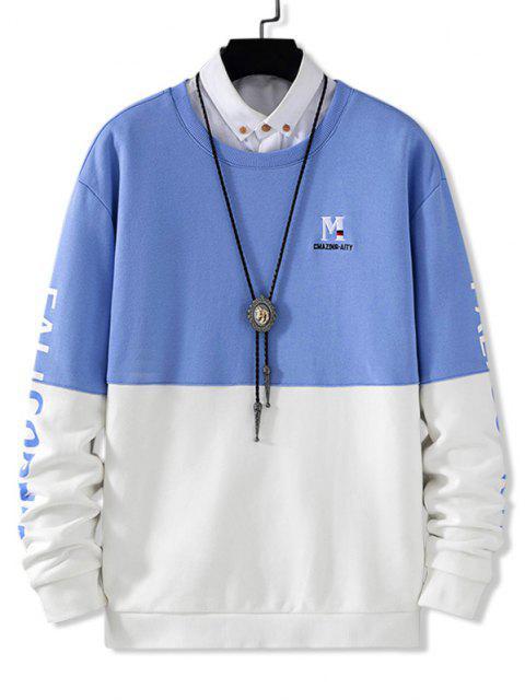 unique Contrast Color Letter Embroidery Drop Shoulder Sweatshirt - BLUEBERRY BLUE XS Mobile