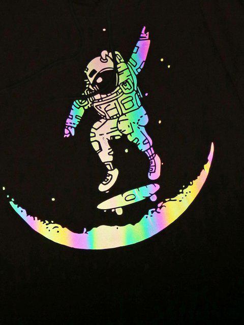 chic ZAFUL Luminous Astronaut Skateboarding Pattern Hoodie - LIGHT PINK M Mobile